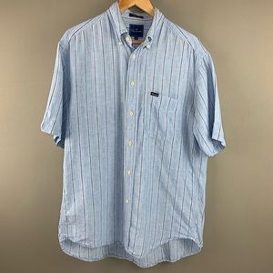 Faconnable Linen Short Sleeve Button Down Shirt